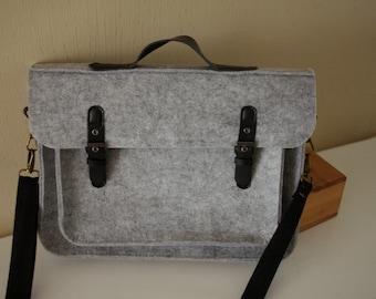 "11"" MacBook Air Sleeve Bag - Wool Felt Laptop Bag MacBook Sleeve, Two Pockets Messenger Bag - 40% OFF / Adjustable Crossbody Belt"