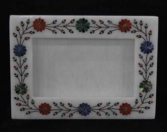 Photo frames handmade marble inlay semiprecious stones pietra dura art