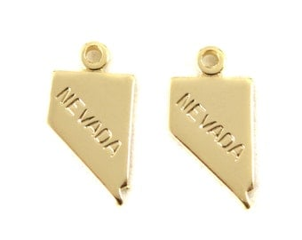 2x Gold Plated Engraved Nevada State Charm - M114-NV