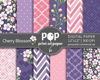 Floral digital paper Cherry Blossom digital paper, japanese digital paper, sakura digital paper, romantic digi paper, spring digital paper