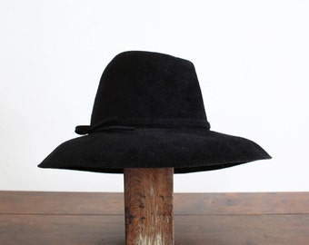 Black Fur Felt Vintage Hat