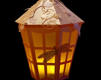 3D SVG Lantern with Dragonfly and vine detail DIGITAL download