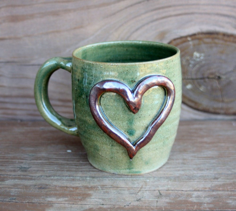 Heart Mug Ceramic Coffee Cup In Green Stoneware Clay Pottery
