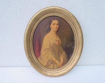 Vintage, oval,old framed print, victorian era woman, long, full dress, cottage chic , girls room,bath,nursery picture,gold frame