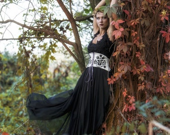 SALE -25% Black tulle dress with lace