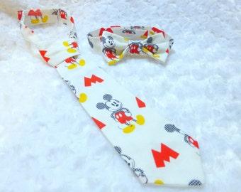 Handmade Disney Mickey Mouse Tie / Kids Neck tie./ Disney Mickey Mouse Bow tie / Disney Mickey Mouse Smash Cake / Made in USA