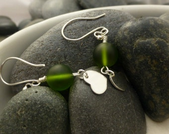 Frosted Green Glass with Hearts Earrings