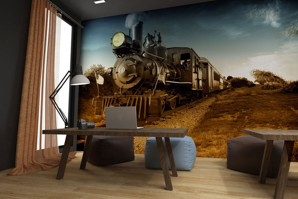 steam train wall mural peel stick wall fabric by styleawall