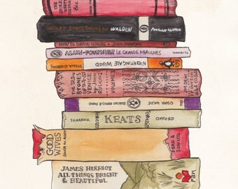 Colourful Books Stack Illustration A4 Print