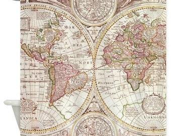 Map Shower Curtain -  Antique map - travel Decor - historical Bathroom - world maps