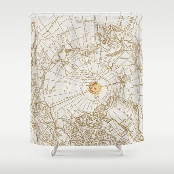 karte mit dem kompass stoff duschvorhang geben mir. Black Bedroom Furniture Sets. Home Design Ideas
