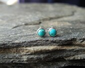 Tiny Turquoise gemstone stud earrings, 3mm round natural cabochon in Sterling Silver bezel setting, December birthstone (JK318)