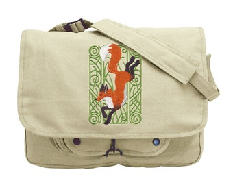 Fox Nouveau Embroidered Canvas Messenger Bag