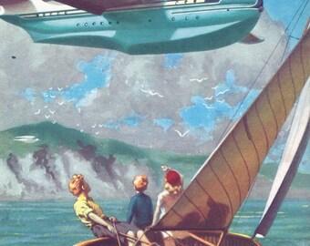 Seaplane Aviation Travel Art 1950s Print Flying Boat transport Old Prints
