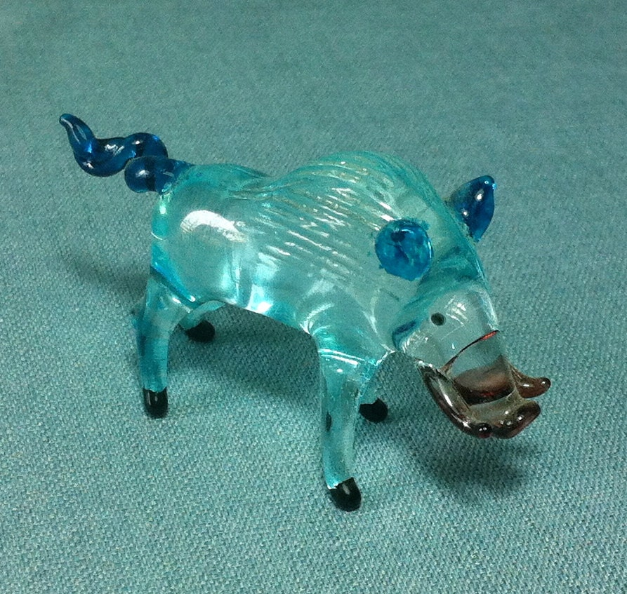 Hand blown glass funny wild boar pig animal by thaicraftvillage
