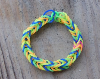 Multicolor Fishtail Pattern - Rubber Band Bracelet
