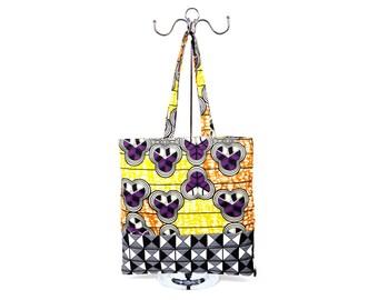 African Tribal Geometric Pattern Print, Black and White, Yellow, Monochrome Tote Bag, Shopper Bag,
