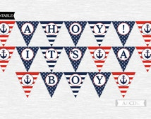 Instant Download Red and Navy Ahoy  Its a Boy Banner Nautical baby Shower DIY Printable (PDNMO106)