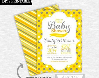 Yellow Grey Polka Dots Baby Shower invitation  DIY Printable (PDDO006)