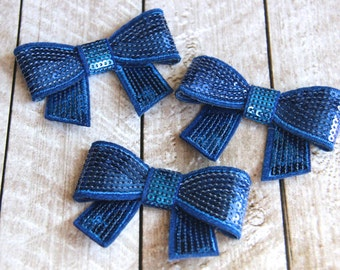 """Set of 3 2.75"""" Royal Blue Sequin Bows - For DIY Headbands & Accessories"""