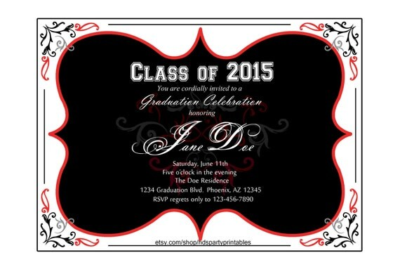 BLACK and RED GRADUATION Border invitation by ...Red Graduation Borders
