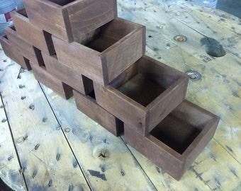Rustic Wedding Centerpiece Flower Boxes, Set of TEN, Table Centerpiece, Wood Flower Boxes