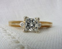 SALE: A Vintage Princess Cut Diamond Engagement Ring in 14kt Yellow Gold - Elaine