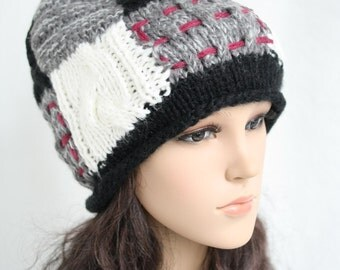 Blending knitted hat  Women Teens Accessories  Fall Winter Fashion  Chunky Beret  302972-912(25#)