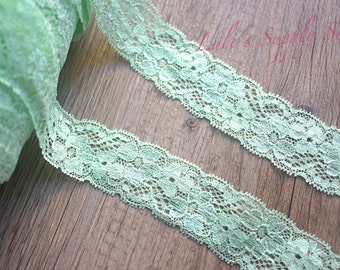 "Mint Floral elastic Lace - 1.3"" Elastic Lace - Lace Ribbon - Elastic by the yard - Shiny Elastic - Stretch Lace - Stretchy Mint Lace"
