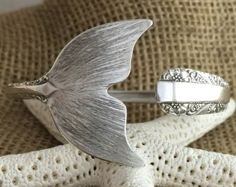 TO PRE-ORDER Sterling Silver Mermaid Tail Spoon Cuff/Bangle Bracelet