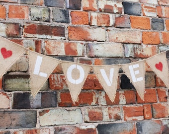 Valentines Day Decor Valentines Day Banner Wedding Banner Bridal Shower Banner Burlap Love Banner Wedding Decor Love Bunting Wedding Garland