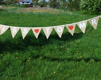 Miss to Mrs With Hearts Bridal Shower Bunting MISS TO MRS Burlap Banner Bridal Shower Sign Bridal Shower Garland Photo Prop