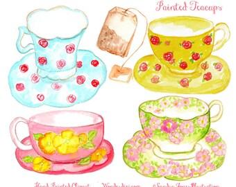 Watercolor Clipart - Watercolor Clip Art  - Tea Cup Clip art - Hand painted Tea Party