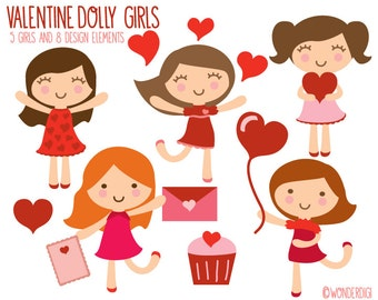 Valentines Clipart - Girl Clip art - Heart Clipart - Valentines Day Clip art