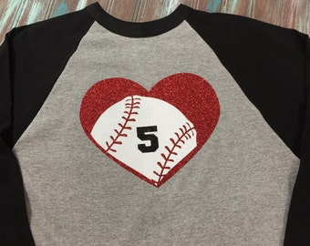 Glitter Heart Baseball Shirt