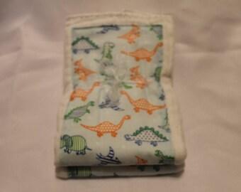 Set of 2 Dinosaur Print Cloth Diaper Burp Cloths
