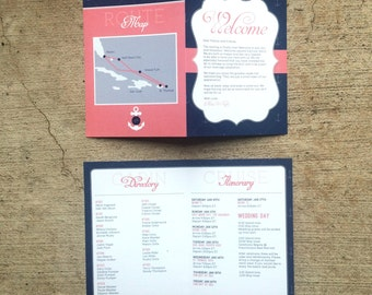5x7 Bi-Fold Wedding Welcome Card for Cruise or Destination Wedding with Itinerary Schedule, Cabin Directory and Route Map