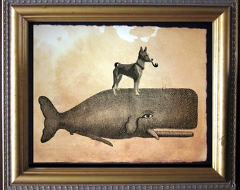 Basenji Dog Riding Whale - Vintage Collage Art Print on Tea Stained Paper - Vintage Art Print