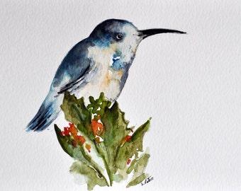 ORIGINAL Watercolor Bird Painting, Blue White Hummingbird 6x8 inch