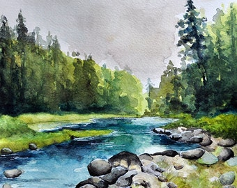ORIGINAL Watercolor Painting 10x10 Inch, River Landscape