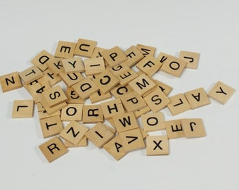 Wooden Letter Tiles, set of 60, Scrabble style tiles