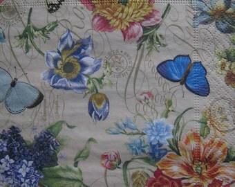 ONE Paper napkin for decoupage, Vintage look garden flowers, Summer flowers