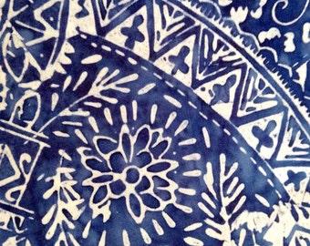 One Half Yard of Fabric Material - Indigo Batik