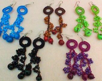 Acai Seeds Dangle Earrings/ Natural Seeds Crochet Dangle Earrings/ Peruvian Eco Friendly Dangle Earrings/Organic Dangle Earrings