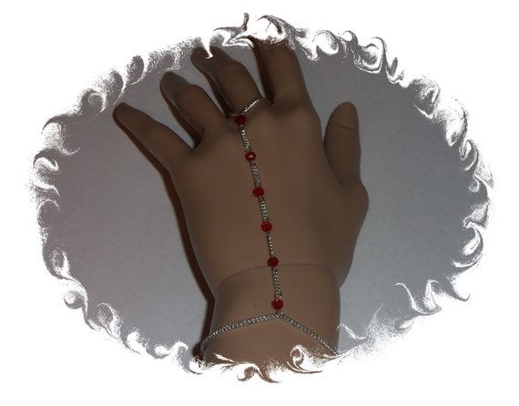 Red Sterling Silver Chain Finger Ring Bracelet with Swarovski Rondelle Crystals