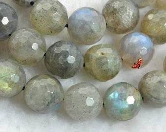 Labradorite faceted Round beads 10mm,37 pcs