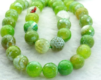 Fire Agate faceted round beads 12mm,31 pcs