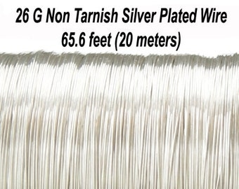 26 Gauge (0,4 mm), Non Tarnish Silver Plated Copper Wire, Round, 65.6 feet (20 meters), Made in UK