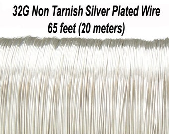32 Gauge (Approx.) , 0.2 mm  Non Tarnish Silver Plated Copper Wire, Round, Soft,  65 feet (20 meters), Made in UK