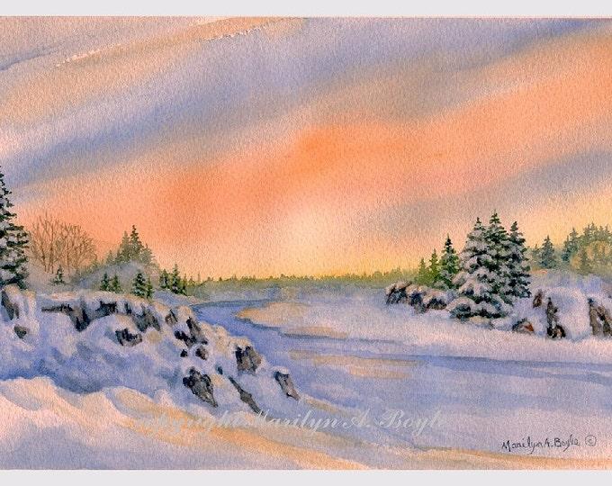 ORIGINAL WATERCOLOR SCENE; free shipping,winter landscape, sunrise, cliffs, river, wall art, original art, peach, blue color, Canadian art